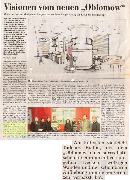 Oblomow kiel bialon architektur design kunst for Innenraumdesign studium